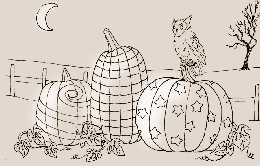 Owl in the Pumpkin Patch