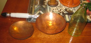 Copper Bowls and a Bottle